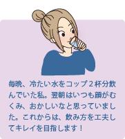毎晩、冷たい水をコップ2杯分飲んでいた私。翌朝はいつも顔がむくみ、おかしいなと思っていました。これからは、飲み方を工夫してキレイを目指します!