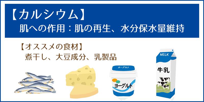 【カルシウム】肌への作用:肌の再生、水分保水量維持 --オススメの食材 煮干し、大豆成分、乳製品 【鉄】肌への作用:血行促進、コラーゲン生成